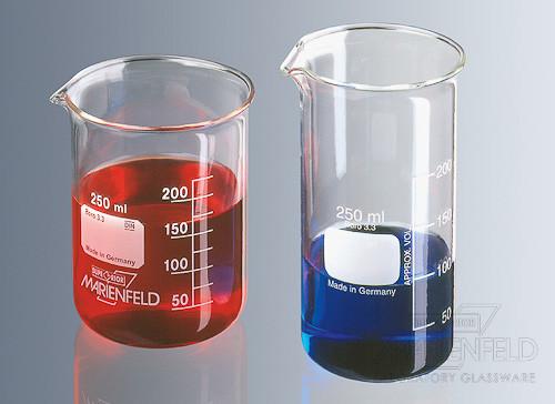 Probetas, vasos de precipitado y jarras de vidrio